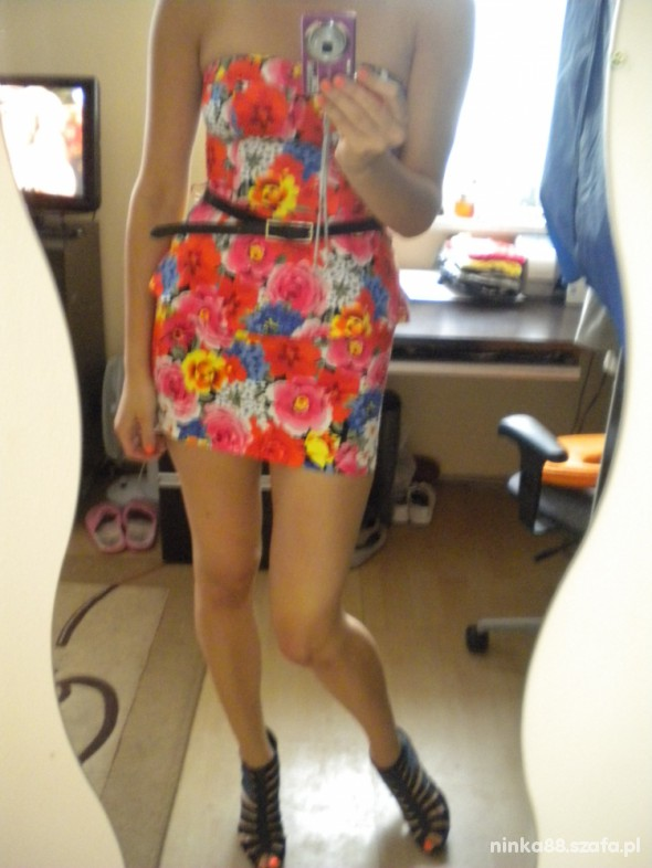 Suknie i sukienki Sukienka z baskinką floral