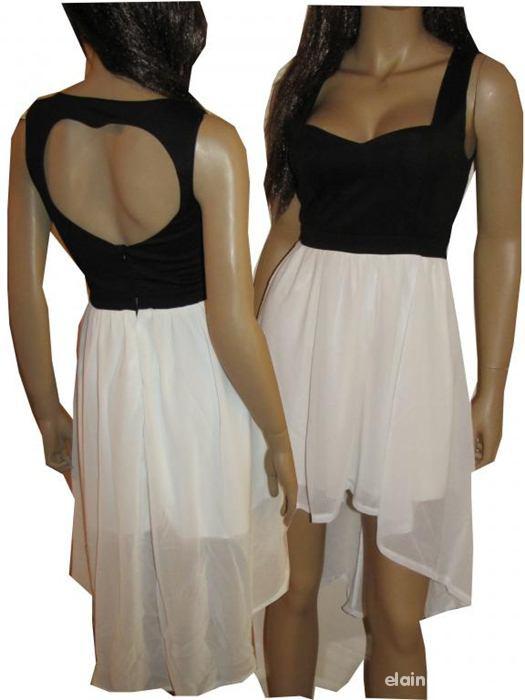 sukienka asymetryczna biało czarna serce