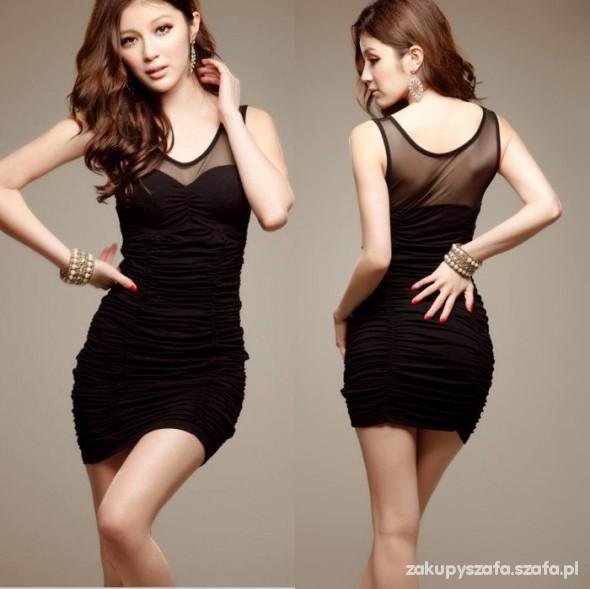 Czarna sukienka z marszczeniem Nowa