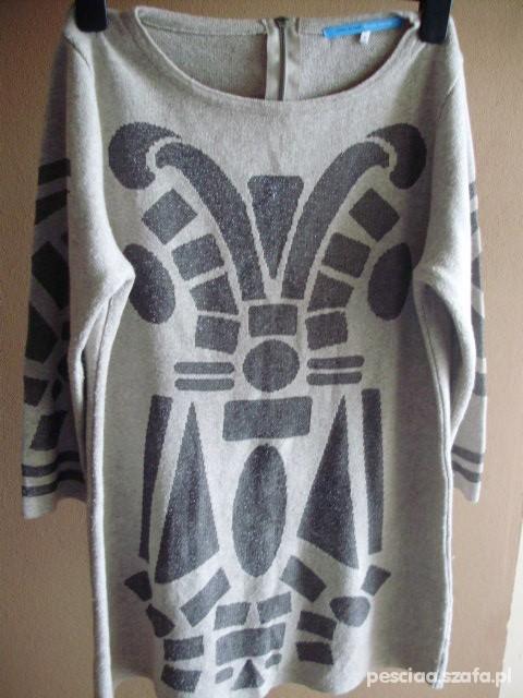 Swetry Sweter River Island Aztec Zip Oversize