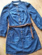 Jeansowa sukienka tunika militarna RIVER ISLAND...