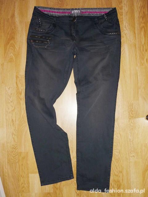 Spodnie CHEROKEE czarne dżinsowe rurki dżety łańcuch 46