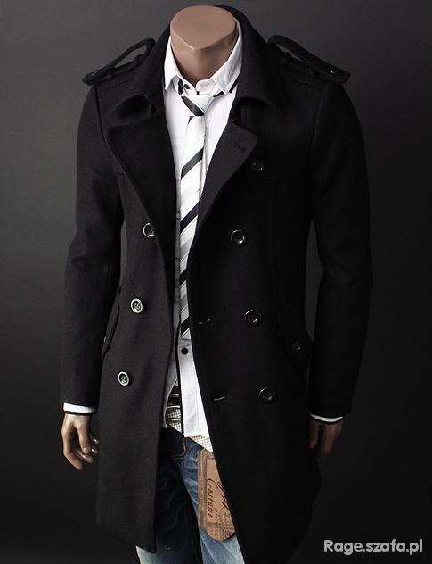 czarny męski płaszcz