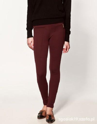 Spodnie Burgundowe bryczesy ZARA