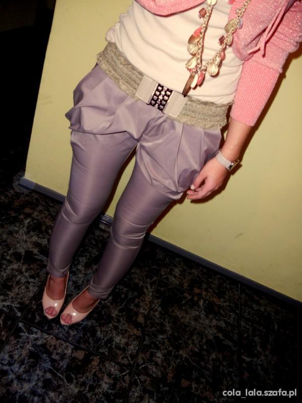 Spodnie haremki bryczesy cygaretki bezowe S M