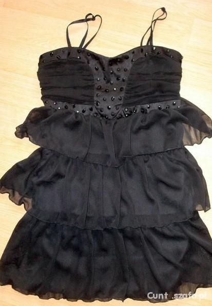 Suknie i sukienki Czarna sukienka z falbankami tally weijl