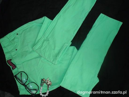 Spodnie SPODNIE MIĘTOWE ZIELONE RURKI LEGGINSY