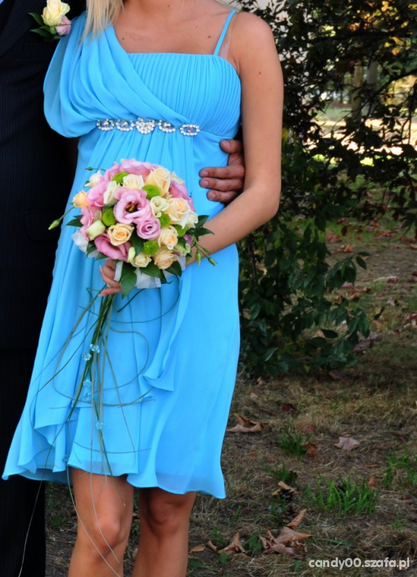 39f4f1c28c Sukienka śliczny niebieski kolor s m w Suknie i sukienki - Szafa.pl