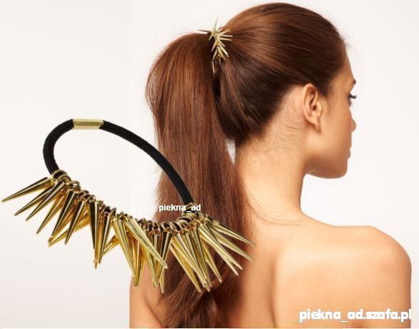 Ozdoby na włosy Gumka do włosów kolce złote