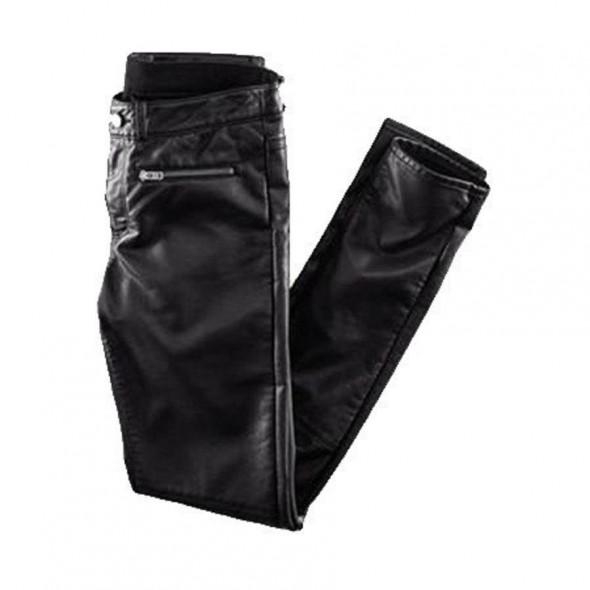 Spodnie Skórzane skórkowe spodnie Zip H&M
