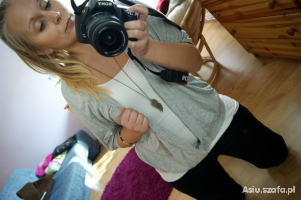 Mój styl Szary sweterek OVERSIZE