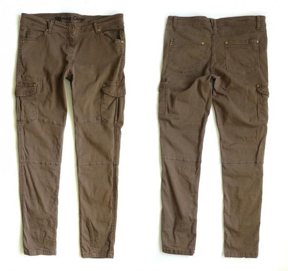 Spodnie Bojówki Rurki 44 46 Spodnie brązowe Militarne