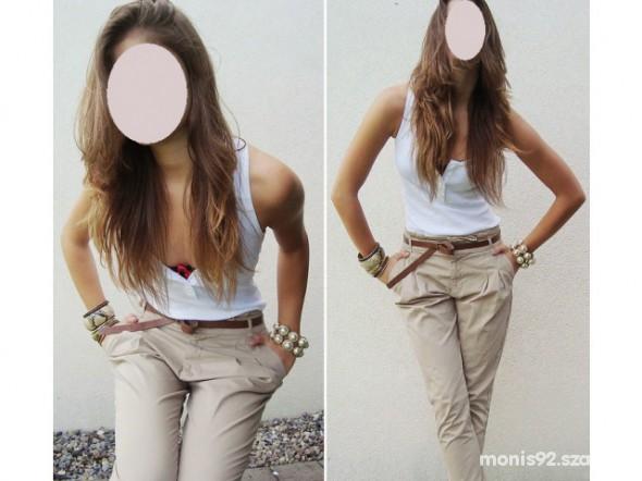 Spodnie haremki beżowe zara