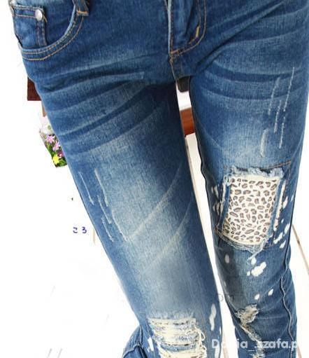 Spodnie jeansy panterka