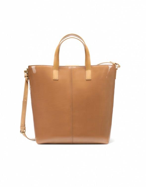Zara shopper bag basic nude lakierowana