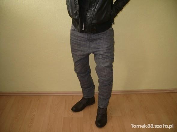 Spodnie MĘSKIE RURKI BAGGY NISKI KROK PAS 84 CM