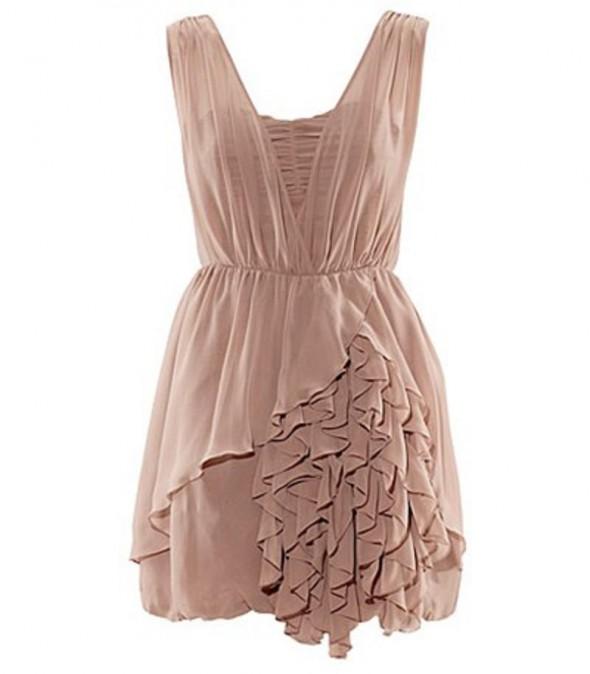 Suknie i sukienki sukienka nude falbany h&m anja rubik 36 S