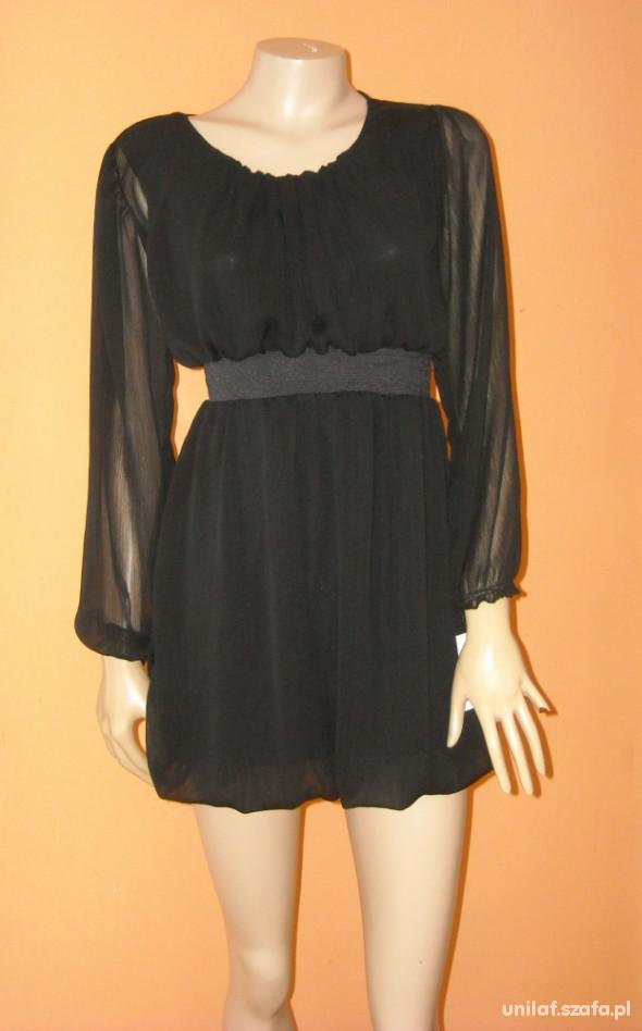 Suknie i sukienki nowa czarna sukienka szyfonowa 39zł