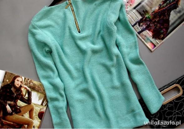 nowy miętowy sweter z zamkiem na plecach miętowy