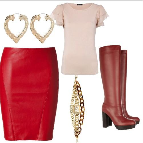 Eleganckie czerwona spódnica