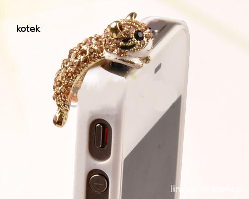 Kotek Swarovski kryształ zaślepka tel kurz wtyk