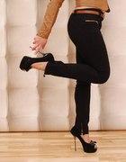 czarne spodnie włoskie rurki zip 36