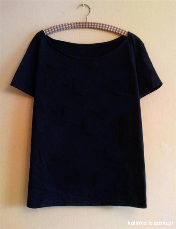 czarna koszulka bez nadruku bluzka oversize diy