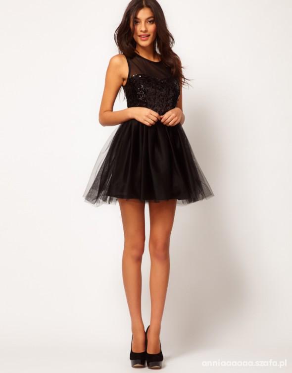 a7455caefac5 Sukienka Asos balowa rozkloszowana cekiny czarna w Suknie i sukienki ...