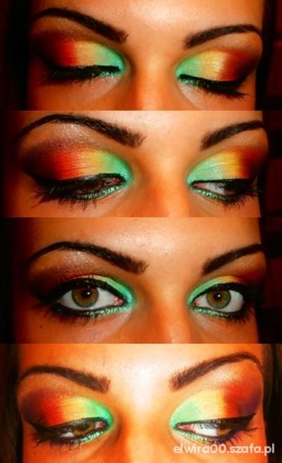 Fryzury Makijaż kolorowy