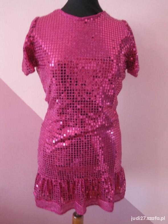 42e4336e różowa sukienka cała w cekiny w Suknie i sukienki - Szafa.pl