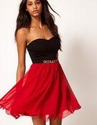 Paprika Bandeau sukienka asos 34 szukam black red