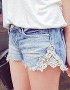 Piękne szorty koronka jeans
