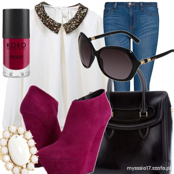 Imprezowe burgund koturny lakier mgiełka