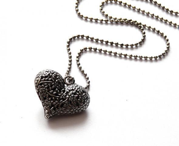 Naszyjnik serce stare srebro długi
