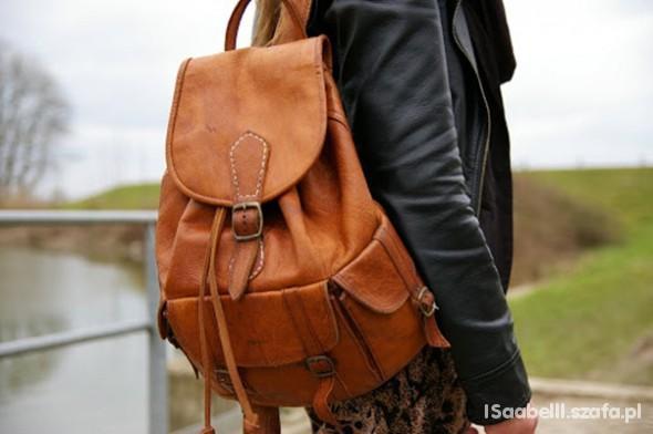 9af37ec8d2734 Skórzany plecak Retro Vintage w Dodatki - Szafa.pl