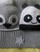 Cudooo hand made czapka szara sówka i komin