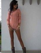 Piękny Nowy Długi Morelowy Sweter S M