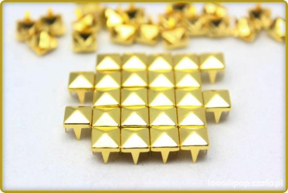 Pozostałe Złote ĆWIEKI PIRAMIDKI 8mm