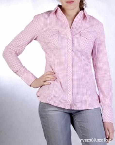 Koszula długi rękaw kratka różowo biała...