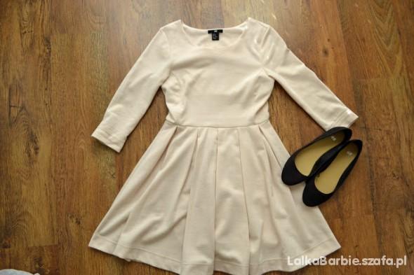 długa sukienka HM pudrowy róż 38 styl grecki w Suknie i
