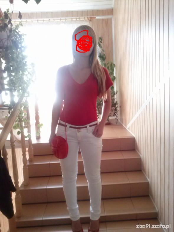 Mój styl czerwono bialy tani i prosty mój klasyk ubrania