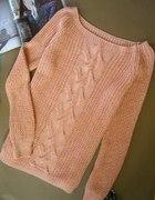 nowy morelowy sweter ciepły warkocze morelowy 37zł
