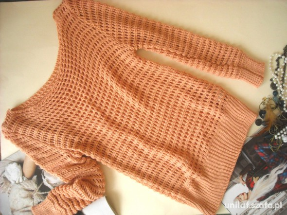 Swetry nowy herbaciany sweter ażurowy długie rękawy