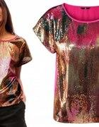 H&M Oversize cekiny kolorowa cekinowa