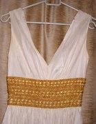 kremowa grecka ecru sukienka suknia XS