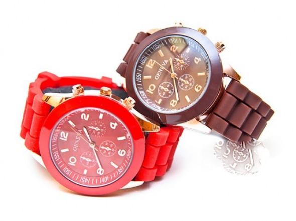 Zegarki Piękny NOWY Czerwony Zegarek Geneva NAJTANIEJ