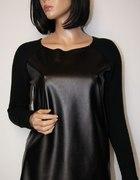 czarny sweterek eko skóra