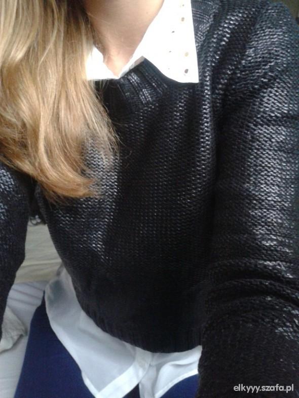 METALICZNY czarny sweter HM blogerski 34 36