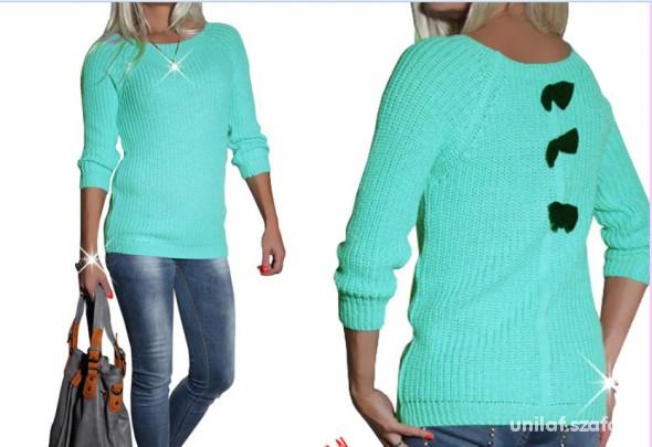 Swetry nowy sweter z kokardkami na plecach miętowy 37zł