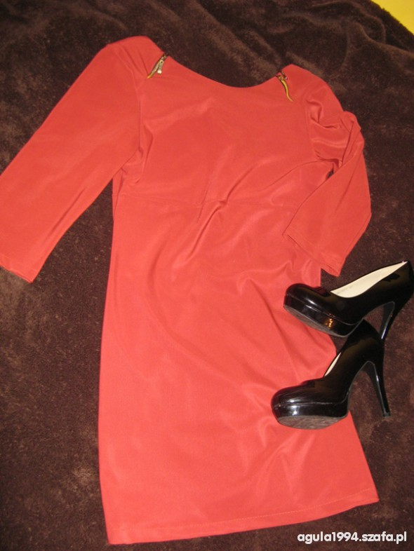 ceglasta sukienka 42